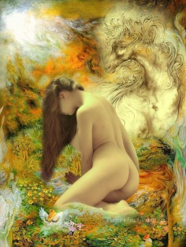 Dream Painting - nude and textured steed in floral dreamland nude original