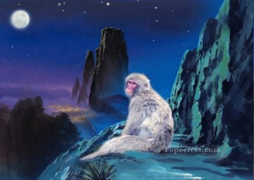 Original Realistic Painting - Monkey under blue sky realistic original