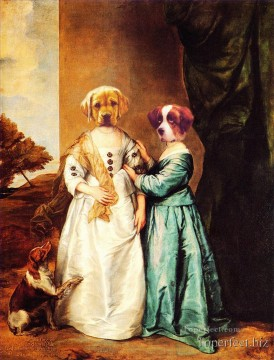 dog dogs Painting - The dogs family revision of classics