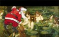 Santa Claus and fairies in a lake revision of classics