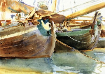watercolor Painting - Boats Venice John Singer Sargent watercolor