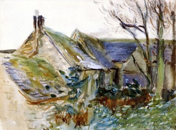 watercolor painting - Cottage at Fairford Gloucestershire John Singer Sargent watercolor