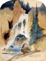 Crystal Falls Rocky Mountains School Thomas Moran watercolour