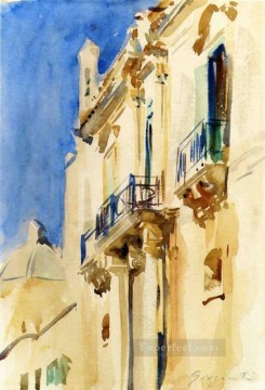 Facade of a Palazzo Girgente Sicily John Singer Sargent watercolour Oil Paintings