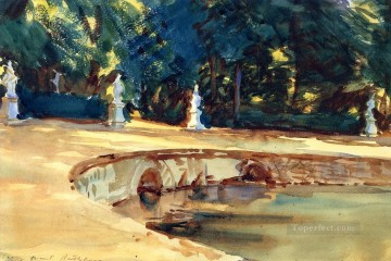 watercolor painting - Pool in the Garden of La Granja John Singer Sargent watercolor