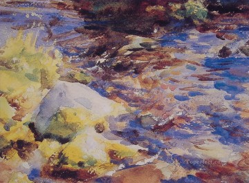 watercolor painting - Reflections Rocks Water John Singer Sargent watercolor