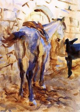 watercolor Deco Art - Saddle Horse Palestine John Singer Sargent watercolor