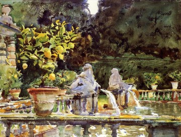 Villa de Marlia A Fountain John Singer Sargent watercolor Oil Paintings