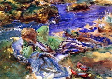 watercolor painting - Woman in a Turkish Costume A Turkish Woman by a Stream John Singer Sargent watercolor