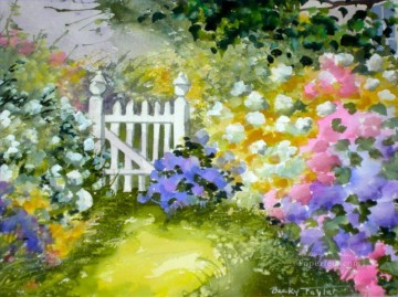 floral fence water colour Oil Paintings