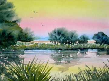watercolor painting - pond watercolor