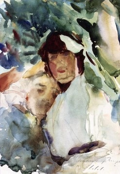 watercolor Deco Art - Ena Wertheimer with Antonio Mancini John Singer Sargent watercolor