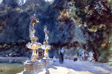 watercolor painting - Florence Fountain Boboli Garden John Singer Sargent watercolor