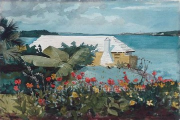 Flower Garden And Bungalow Winslow Homer water color Oil Paintings