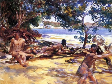 Bather Art - The Bathers John Singer Sargent watercolor