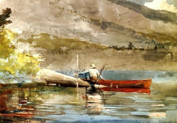 The Red Canoe2 Winslow Homer watercolour Oil Paintings