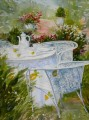 tea at garden watercolor