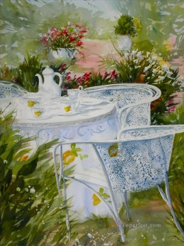 tea at garden watercolor Oil Paintings