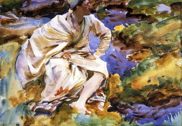 watercolor painting - A Man Seated by a Stream Val dAosta Purtud John Singer Sargent watercolor