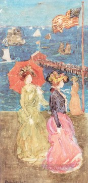 Figures Under the Flag Maurice Prendergast watercolour Oil Paintings