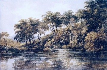 watercolor Painting - Pond scenery Thomas Girtin watercolor