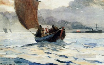 watercolour Oil Painting - Returning Fishing Boats Winslow Homer watercolour