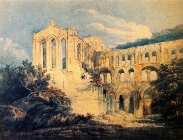watercolor Painting - Rievaulx Abbey Yorkshire scenery Thomas Girtin watercolor