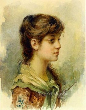 Artists Oil Painting - The Artists Daughter girl portrait Alexei Harlamov watercolour