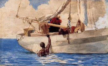The Coral Divers Winslow Homer watercolour Oil Paintings