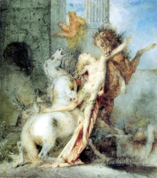 Devoured Painting - Diomedes Devoured by his Horses Symbolism Gustave Moreau watercolor