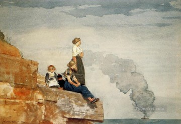 aka - Fishermans Family aka The Lookout Winslow Homer watercolour