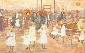 South Boston Pier Maurice Prendergast watercolour Oil Paintings