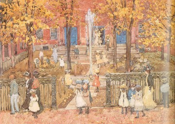 watercolor Painting - West Church Boston Maurice Prendergast watercolor