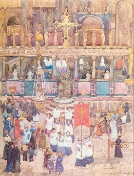 Easter Procession St Marks Maurice Prendergast watercolor Oil Paintings