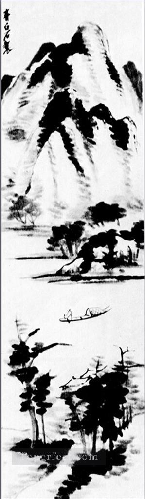 Qi Baishi lonely boat traditional Chinese Oil Paintings