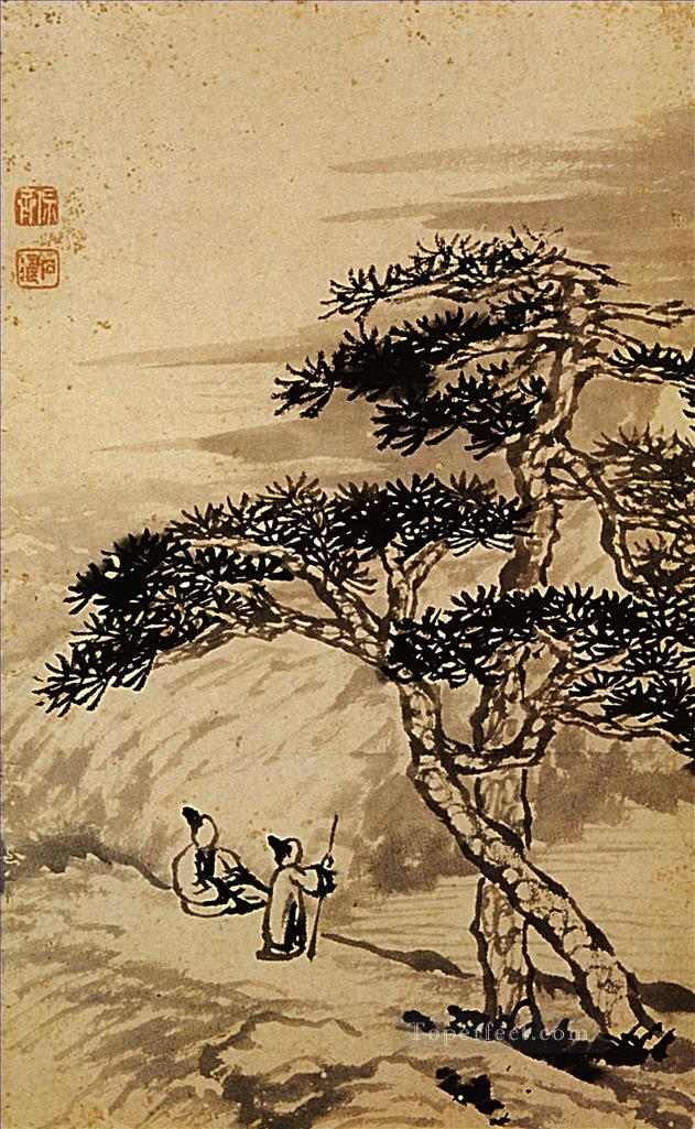 Shitao conversation at the edge of the void 1698 traditional Chinese Oil Paintings