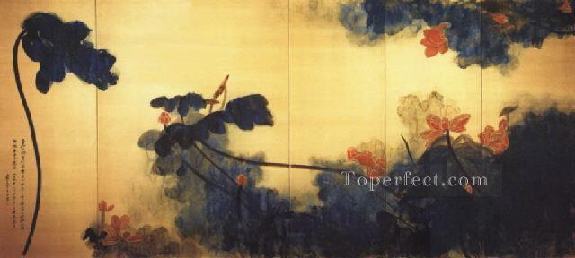 Chang dai chien crimson lotuses on gold screen traditional Chinese Oil Paintings