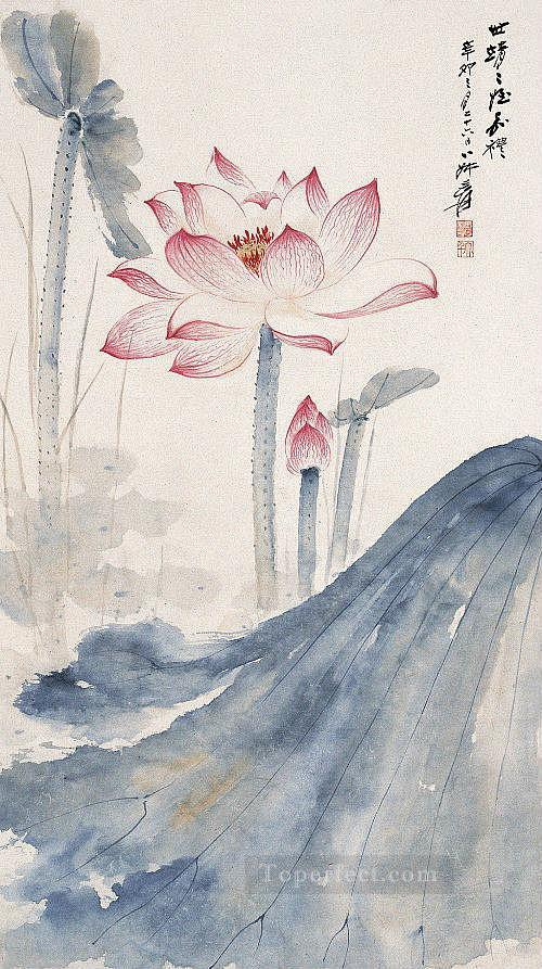 Chang dai chien lotus 2 traditional Chinese Oil Paintings