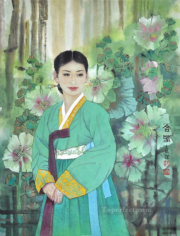 Korean girl traditional Chinese Oil Paintings