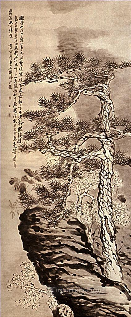 Shitao pin on the cliff 1707 traditional China Oil Paintings