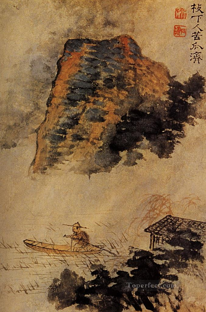 Shitao the fishermen in the cliff 1693 traditional China Oil Paintings