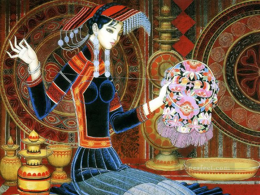 Wang Cunde girl is sewing traditional China Oil Paintings