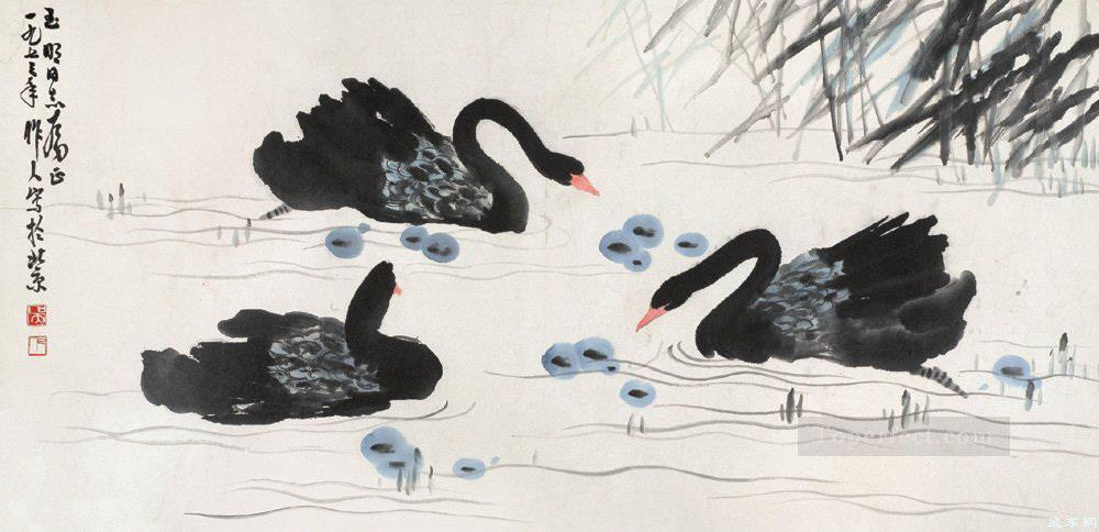 Wu zuoren black swans traditional China Oil Paintings