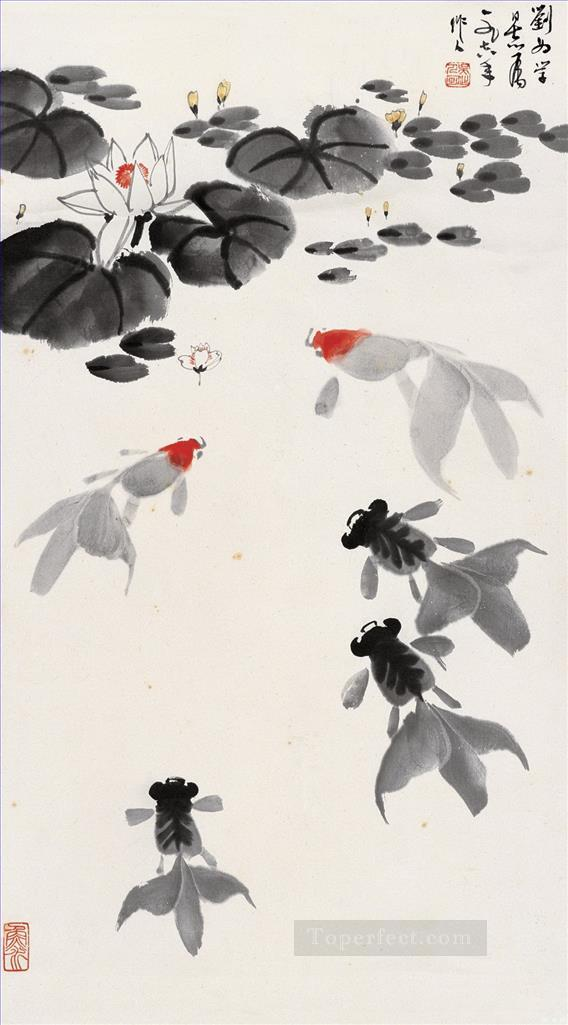Wu zuoren goldfish in waterlily pond traditional China Oil Paintings