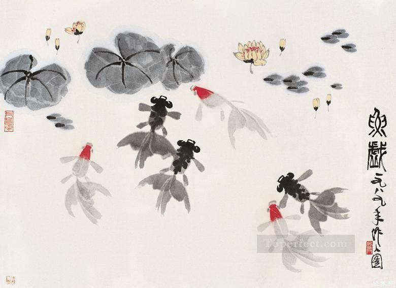 Wu zuoren so many fishes traditional China Oil Paintings