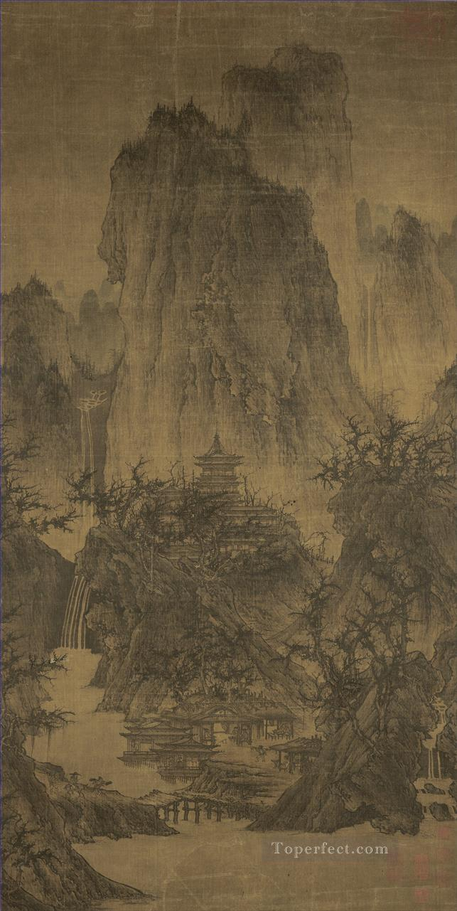 a solitary temple amid clearing peaks 960 Li Cheng traditional Chinese Oil Paintings