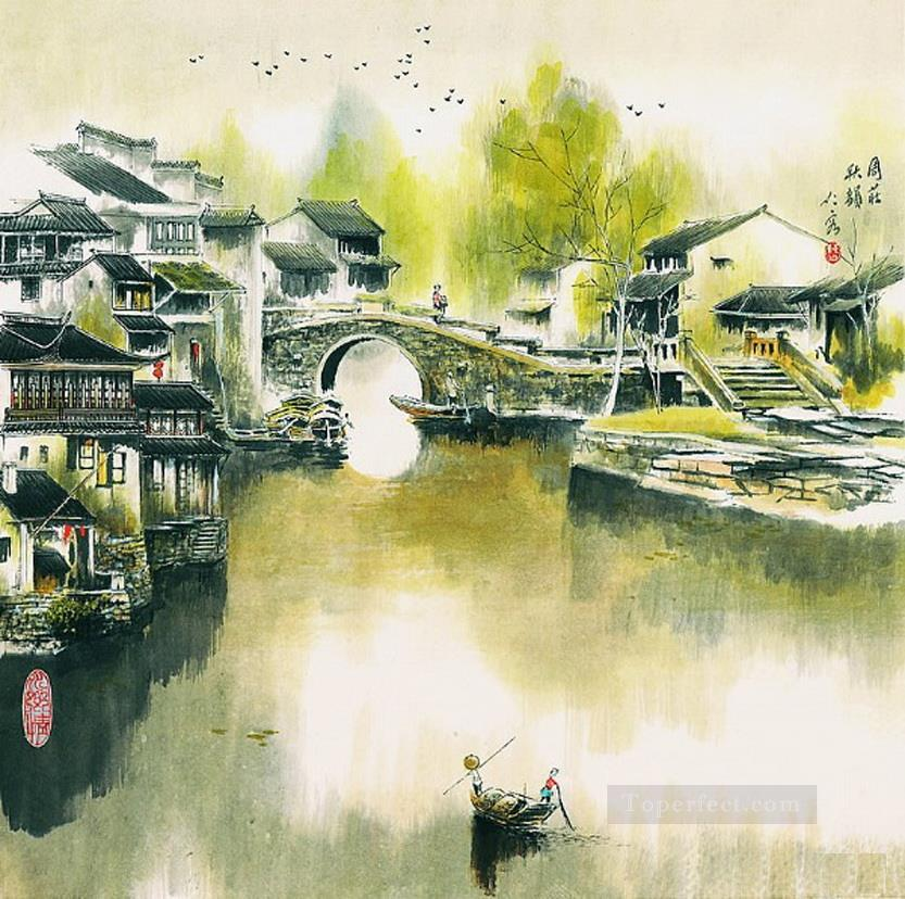 Cao renrong Suzhou Park and Chinese junks Oil Paintings