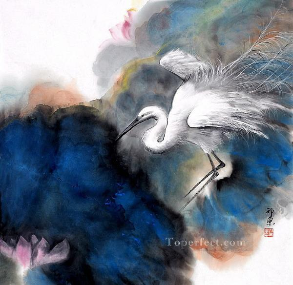 Egret in clouds traditional China Oil Paintings