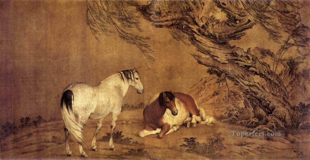 Lang shining 2 horses under willow shadow traditional China Oil Paintings