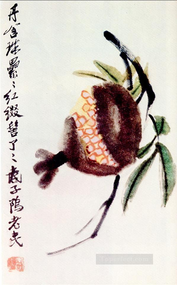 Qi Baishi chrysanthemum and loquat 1 traditional China Oil Paintings